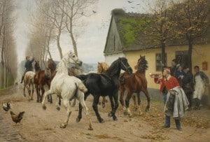 Otto Bache: Et kobbel heste uden for en kro ,1878 (Statens Museum for Kunst)